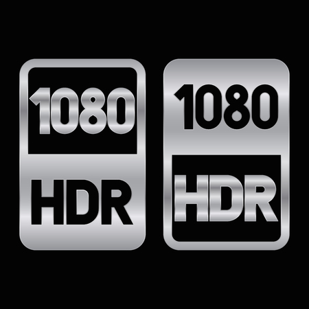 1080 HDR format silver icon. Pure vector illustration on black background