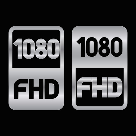 1080 Full HD format silver icon. Pure vector illustration on black background