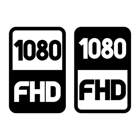 1080 Full HD format black icon. Pure flat vector illustration on white background