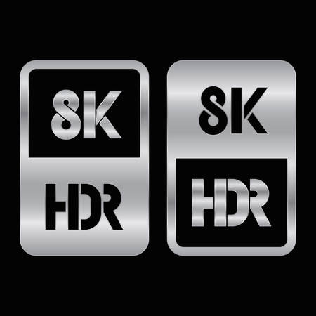 8K HDR format silver and cut icon. Pure vector illustration on black background