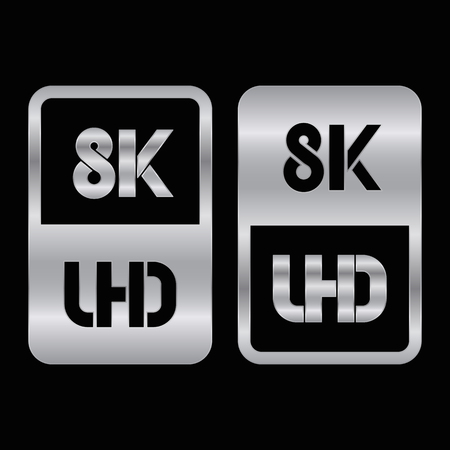 8K Ultra HD format silver and cut icon. Pure vector illustration on black background Çizim