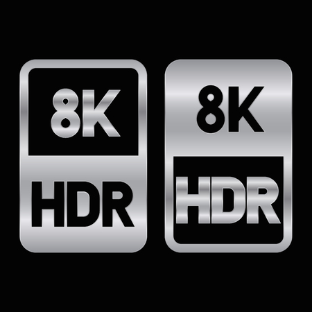 8K HDR format silver icon. Pure vector illustration on black background Çizim