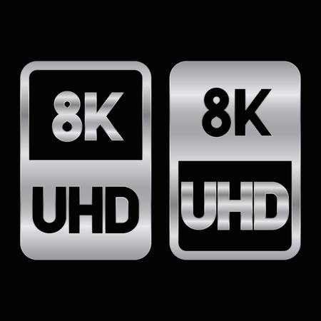 8K Ultra HD format siver icon. Pure vector illustration on black background
