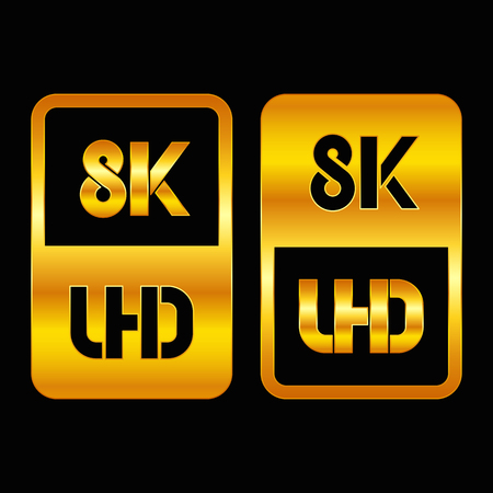 8K Ultra HD format gold and cut icon. Pure vector illustration on black background