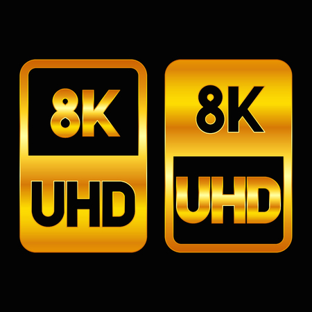 8K Ultra HD format gold icon. Pure vector illustration on black background