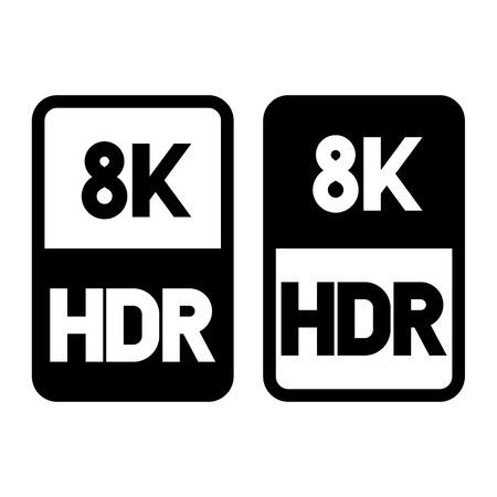 8k HDR format flat black icon. Vector illustration on white background Stok Fotoğraf - 115709594