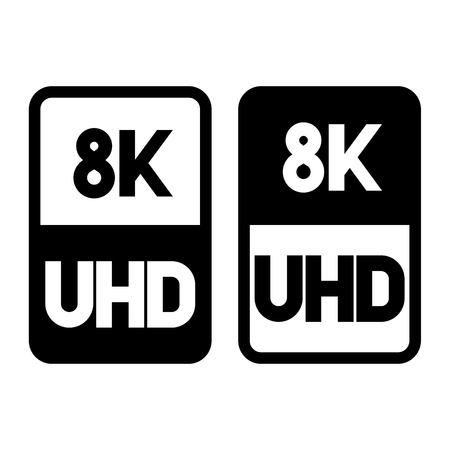 8k Ultra HD format flat black icon. Vector illustration on white background