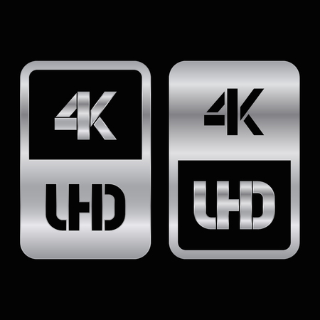 4K Ultra HD format silver and cut icon. Pure vector illustration on black background