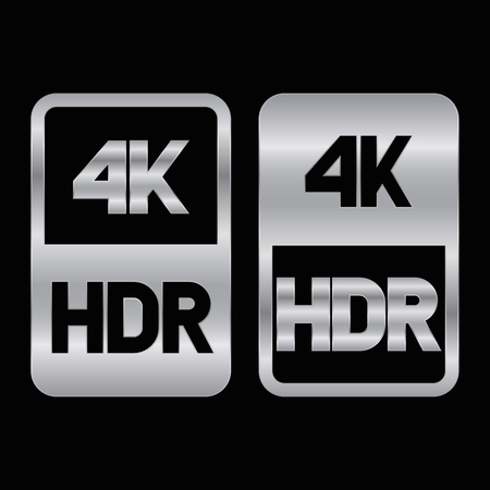 4K HDR format silver icon. Pure vector illustration on black background Çizim