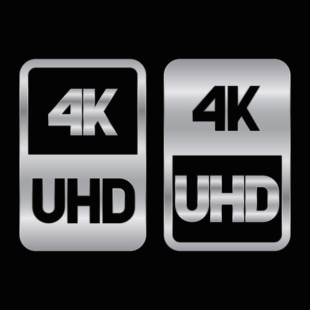 4K Ultra HD format siver icon. Pure vector illustration on black background Çizim