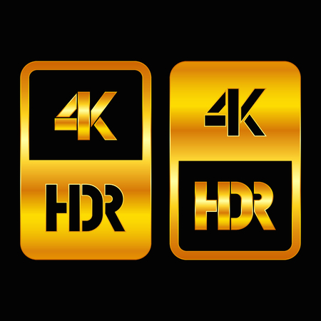 4K HDR format gold and cut icon. Pure vector illustration on black background Stok Fotoğraf - 115709600