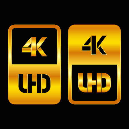 4K Ultra HD format gold and cut icon. Pure vector illustration on black background Çizim