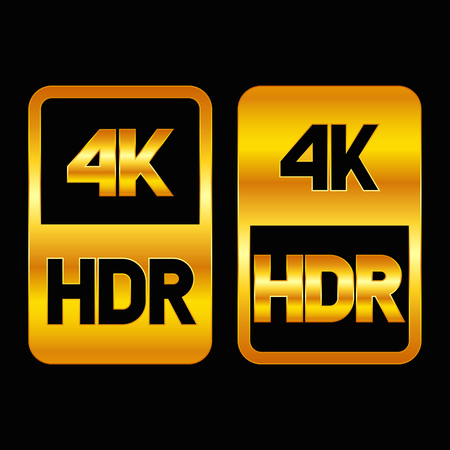 4K HDR format gold icon. Pure vector illustration on black background