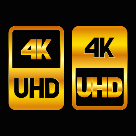 4K Ultra HD format gold icon. Pure vector illustration on black background