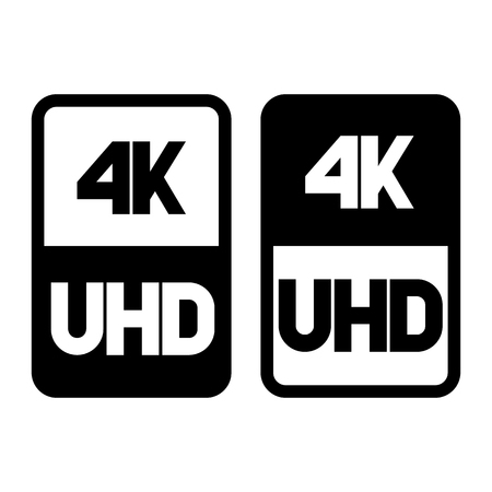 4k Ultra HD format flat black icon. Vector illustration on white background