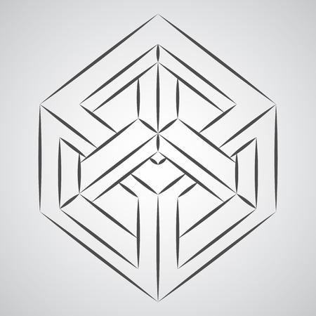 Schets paradox kubus. Penrose-figuur. Zuivere vectorillustratie op grijze achtergrond