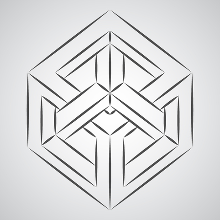 Sketch paradox cube. Penrose figure. Pure vector illustration on gray background Stok Fotoğraf - 115950631