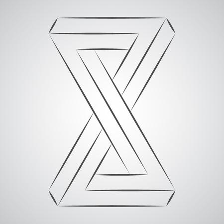 Sketch geometric paradox penrose figure. Pure vector illustration on gray background Stok Fotoğraf - 115950633