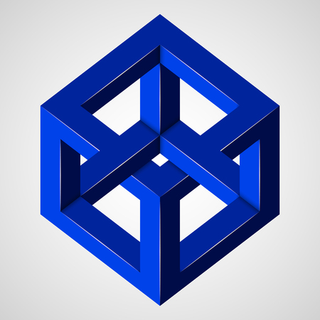 Blue paradox cube. Penrose figure. Pure vector illustration on gray background Stok Fotoğraf - 115950635