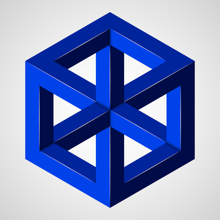 Blue geometric penrose figure - paradox cube. Pure vector illustration on gray background Stok Fotoğraf - 115950636