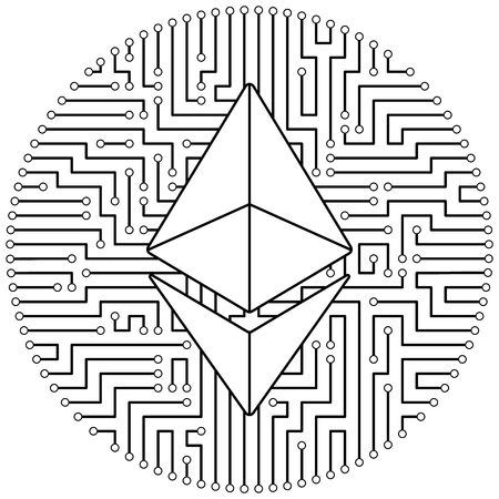 Ethereum - cryptocurrency coin. Vector thin line design single isolated icon. Lineart illustration on white background Çizim