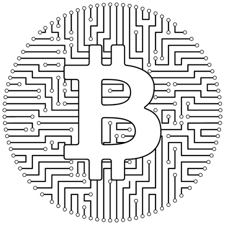 Bitcoin - cryptocurrency coin. Vector thin line design single isolated icon. Lineart illustration on white background