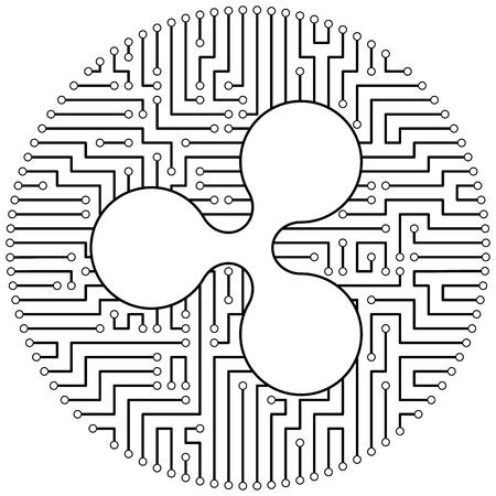 Ripple - cryptocurrency coin. Vector thin line design single isolated icon. Lineart illustration on white background