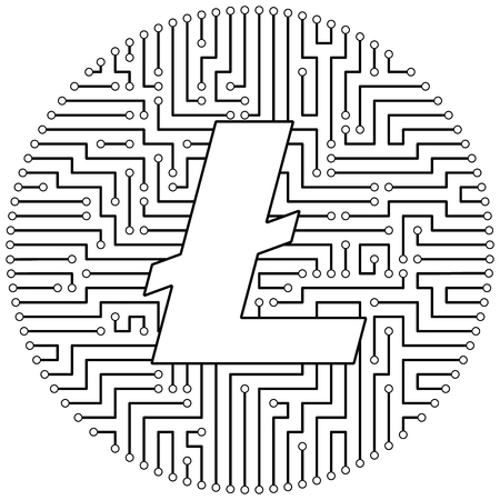 Litecoin - cryptocurrency coin. Vector thin line design single isolated icon. Lineart illustration on white background Stok Fotoğraf - 123523186