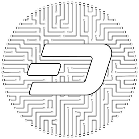 Dash - cryptocurrency coin. Vector thin line design single isolated icon. Lineart illustration on white background