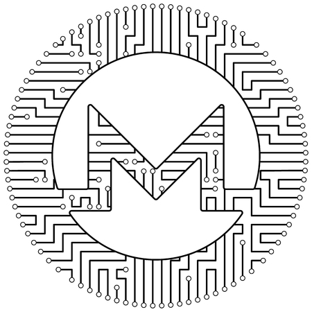 Monero - cryptocurrency coin. Vector thin line design single isolated icon. Lineart illustration on white background