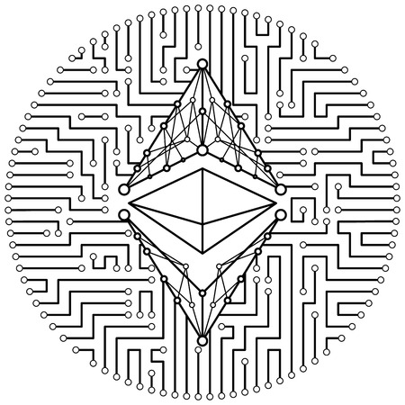 Ethereum classic - cryptocurrency coin. Vector thin line design single isolated icon. Lineart illustration on white background