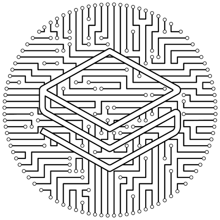 Stratis - cryptocurrency coin. Vector thin line design single isolated icon. Lineart illustration on white background Stok Fotoğraf - 123523196