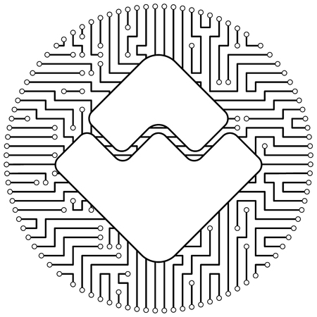 Waves - cryptocurrency coin. Vector thin line design single isolated icon. Lineart illustration on white background Çizim
