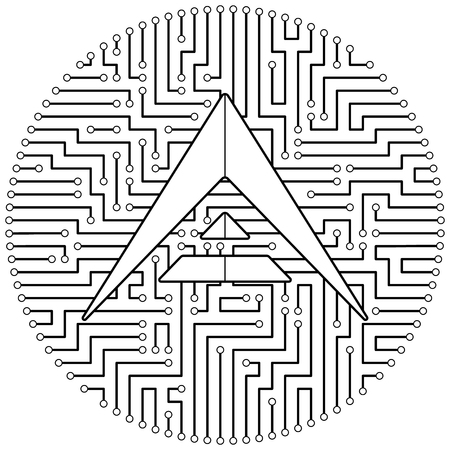 Ark - cryptocurrency coin. Vector thin line design single isolated icon. Lineart illustration on white background Stok Fotoğraf - 123523199