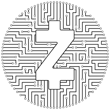 Zcash - cryptocurrency coin. Vector thin line design single isolated icon. Lineart illustration on white background