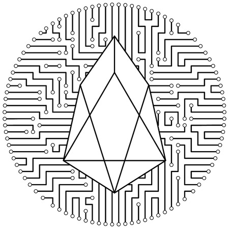 Eos - cryptocurrency coin. Vector thin line design single isolated icon. Lineart illustration on white background