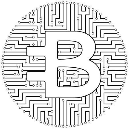 Bytecoin - cryptocurrency coin. Vector thin line design single isolated icon. Lineart illustration on white background