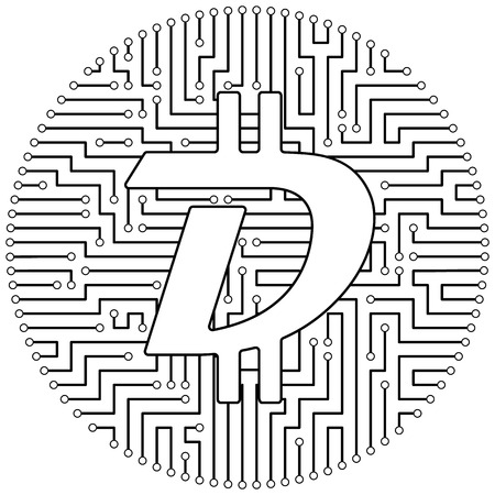 Digibyte - cryptocurrency coin. Vector thin line design single isolated icon. Lineart illustration on white background Çizim