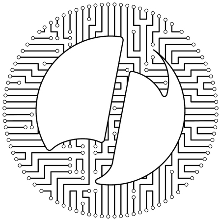 Musicoin - cryptocurrency coin. Vector thin line design single isolated icon. Lineart illustration on white background Stok Fotoğraf - 123523214