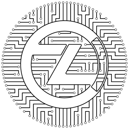 Zclassic - cryptocurrency coin. Vector thin line design single isolated icon. Lineart illustration on white background