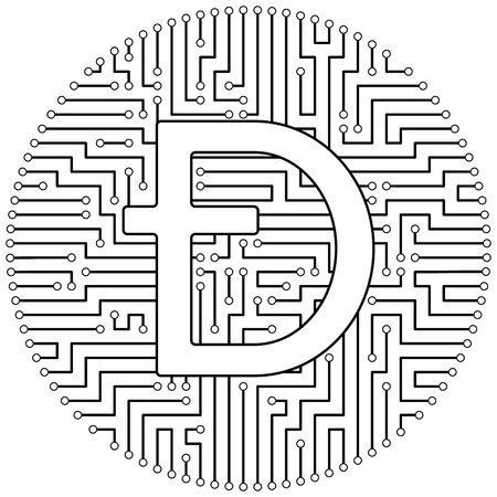 Dashcoin - cryptocurrency coin. Vector thin line design single isolated icon. Lineart illustration on white background Stok Fotoğraf - 123523225