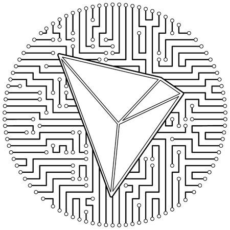 Tron - cryptocurrency coin. Vector thin line design single isolated icon. Lineart illustration on white background Çizim