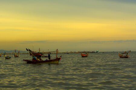 brine: sea, pond, wave, brine, fishing boat, boat, sky, sunset