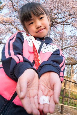 athletic wear: Children with cherry blossom petals