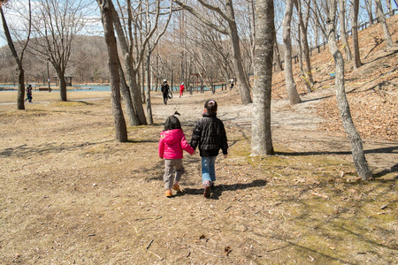 tree linked: Children holding hands, walking