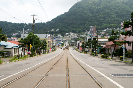 tilt views: Town where there is a tram