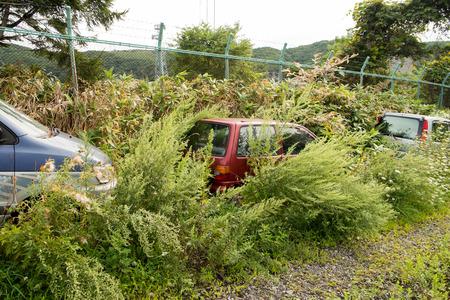 parking violation: Abandoned vehicles Stock Photo