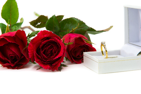 jewel case: Red roses for a special ring me. On a white background
