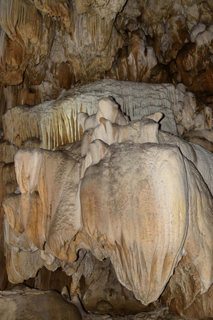 Stalagmite inside the cave as a natural thing, beautifully crafted, Cave, Kanchanaburi, Thailand.