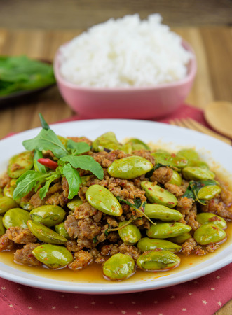 green bean: Sato fried pork curry. Southern food of Thailand